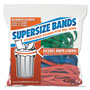 Alliance Rubber SuperSize Bands, 12 x 1/4 Red, 14 x 1/4 Green, 17 x 1/4 Blue, 24/Pack