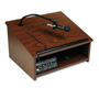 Amplivox Cordless Wireless Sound System Tabletop Lectern, Walnut