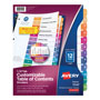 Avery Ready Index® Table of Contents Dividers, 12-Tab Set, Multicolor