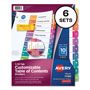 Avery Ready Index® Table of Contents Dividers, 10-Tab, 6 Sets, Multicolor