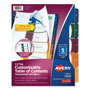 Avery Ready Index® Translucent Table of Contents Dividers, 5-Tab Set, Multicolor