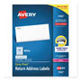 "Avery White Laser Address Labels with Smooth Feed Sheets™, 1/2""x1 3/4"", 8000 per Pack"
