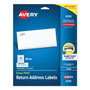 "Avery White Easy Peel Inkjet Return Address Labels, 2/3""x1 3/4"""