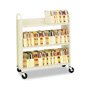 "Bretford One Sided Steel Book Cart, 3 Slant Shelves, 4"" Casters, 31wx13dx42h, Putty"