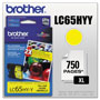 Brother LC65HYY Yellow High Yield Ink Cartridge, 900 Pages