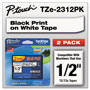 "Brother Laminated Tape Cartridge, For TZ Models, 1/2"", 2/Pack, Black/White"