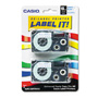 "Casio 3/4"" Tape Cassettes for EZ Label KL100/780/7200/8100/C500, Blue on White, 2/Pack"