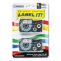 "Casio 3/8"" Tape Cassettes for EZ Label KL100/780/7200/8100/C500, Black/Silver, 2/Pack"