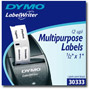 "Dymo MultiPurpose - 2-up Permanent Adhesive Labels - Black On White - 0.5"" x 1"" - 1000 Label(s)"
