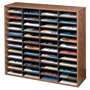 Fellowes Literature Organizer, Laminate Shell, 48 Letter Size Comp, Medium Oak