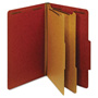 TOPS Pressboard Classification Folders, 6 Fasteners, 2/5 Cut, Legal, Red, 10/Box