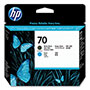 HP 70 Black and Cyan/Magenta/Yellow Ink Cartridge, Model C9404A, Page Yield