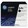 HP 64X Black Toner Cartridge, Model CC364XD, Page Yield 24000