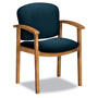 Hon 2111 Invitation Reception Series Wood Guest Chair, Harvest/Solid Blue Fabric