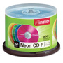 Imation CD R Discs, 40x, 700MB/80Min, Branded, Spindle, Assorted Neon, 50/Pack