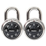 "Master Lock Company Combination Lock, Stainless Steel, 1-7/8"" Wide, Black Dial, 2/Pack"