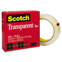 "Scotch Transparent Tape, 3/4"" x 72yds, 3"" Core, Clear"