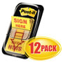 "Post-it® Arrow Message 1"" Page Flags, ""Sign Here"", Yellow, 12 50-Flag Dispensers/Pk"