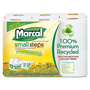 Marcal 100% Recycled Double Roll Bathroom Tissue, 12 Rolls/Pack