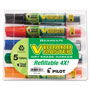 Pilot Whiteboard Marker, Refillable, Chisel Point, 5/Pack, Assorted