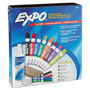 Expo® Low-Odor Dry Erase Marker, Eraser & Cleaner, Chisel/Fine, 12/Set