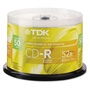 TDK CD Recordable Discs, 52x, 700MB/80 min., Blank, Spindle, Shiny Silver, 50/Pack