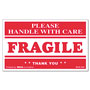 "Universal ""Fragile Handle with Care"" Self-Adhesive Shipping Label,3 x 5, Red, 500 per Roll"
