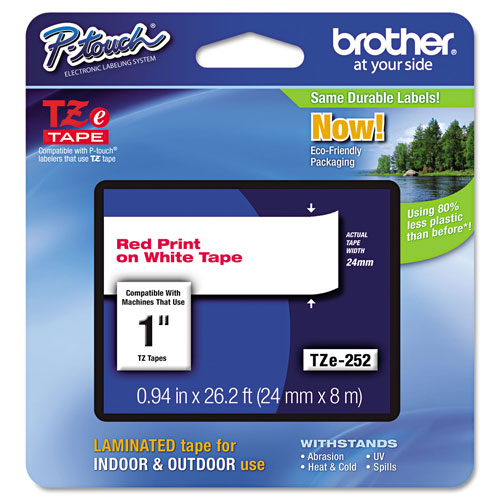 """Lettering Tape, 1"""" Size, Red/White (BRTTZE252)"""