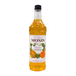 Monin Flavoring Syrup Cantaloupe Rock Melon, 1-Liter. Case of 4