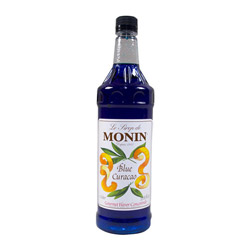 Monin Pet Blue Curacao Syrup, 1-Liter. Case of 4