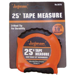 Jorgensen Easy to Read Tape Measure, 25', Orange/Black
