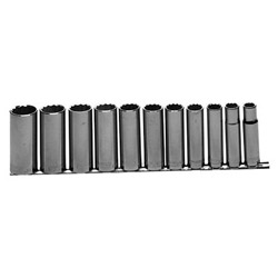 "Allen 11 Piece 1/2"" Drive Deep, Chromescket Set 1/2"" -1-1/8"""