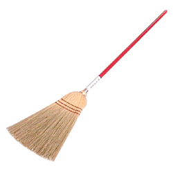 Zephyr Mfg Size 18 Good Value Corn Fiber Broom , 3 Sew w/Red Handle
