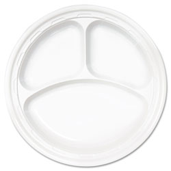 """Impact Disposable 10"""" Plastic Plates, White, Case of 500 4 Packs Per Case.125 Per Pack."""