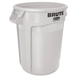 Brute® Round Plastic Outdoor Trash Can, 10 Gallon, White