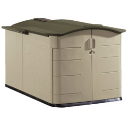 Rubbermaid Large Plastic Storage Shed, 92 Cubic Feet, Slid Lid, Beige