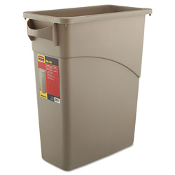 Rubbermaid Slim Jim® Indoor Trash Container, 16 GAL, Beige