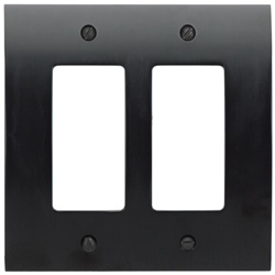 "Atlas Homewares PHPDR-BL 4.87"" Zephyr Double Rocker Switch Plate, Black"