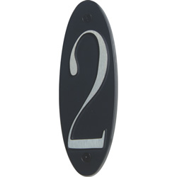 "Atlas Homewares OHN2-BL 6"" Metropolitan #2 House Number, Black"