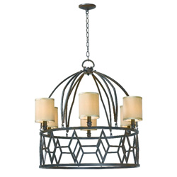 Decatur 3516-42 6 Light Chandelier w/Shades, Rust