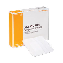 Smith & Nephew CovRSite Plus, 4 x 4 Waterproof Dressing, 10 per Box