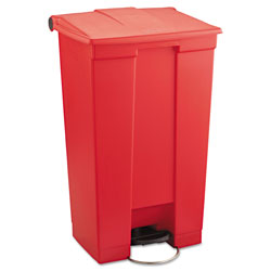 Rubbermaid Red Plastic Step-On Fire-Safe Trash Can, 23 Gallon, Square