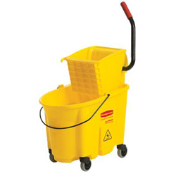 Rubbermaid WaveBrake® Mobile Plastic Bucket & Wringer Combo, Yellow, 35 Quart