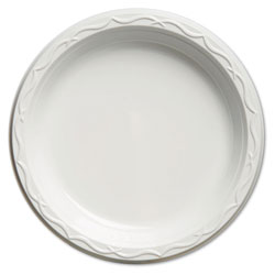 """Impact Disposable 9"""" Plastic Plates, White, Case of 500 4 Packs Per Case.125 Per Pack."""
