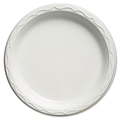 """Impact Disposable 10.25"""" Plastic Plates, White, Case of 500 4 Packs Per Case.125 Per Pack."""