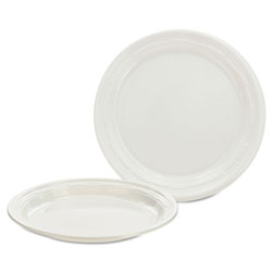 """Impact Disposable 7"""" Plastic Plates, White, Case of 1,000 8 Packs Per Case.125 Per Pack."""
