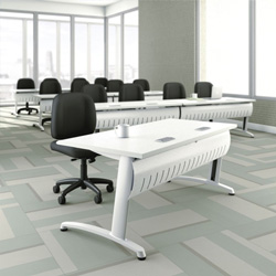 ABCO Office Furniture Z3 2042 Computer Table - Aluminum, Vinyl - Silver Leg, Titanium Ev