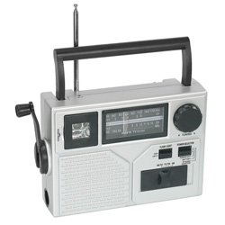 "Acme Silver Portable Crank Radio/Flashlight, 9-3/4"" x 3-1/4"" x 6-3/8"""