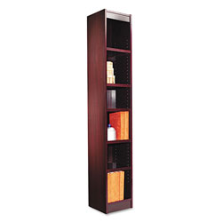 "Alera Wood Veneer 6-Shelf Narrow Profile Bookcase, Finished Back, 12"" x 12"" x 72"", Mahogany"