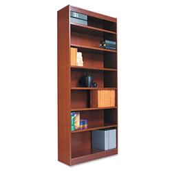 "Alera Wood Veneer 7-Shelf Square Corner Bookcase, Finished Back, 36"" x 12"" x 84"", MediumOak"